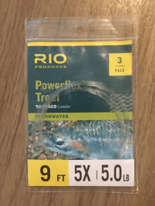 a 9 ft 5X fly fishing leader from RIO