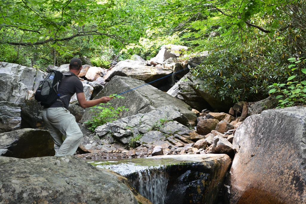 A man uses a tenkara rod to fish a small stream in the woods.