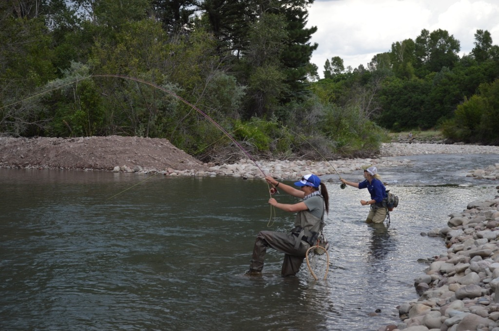 Two women get snagged while fly fishing