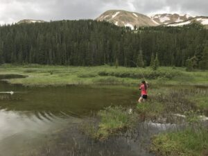 A woman wades in a lake and hooks a fish with mountains in the background.