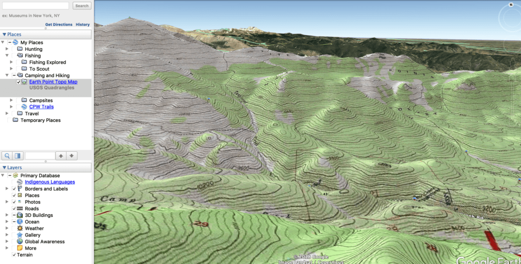 A topo layer on Google Earth
