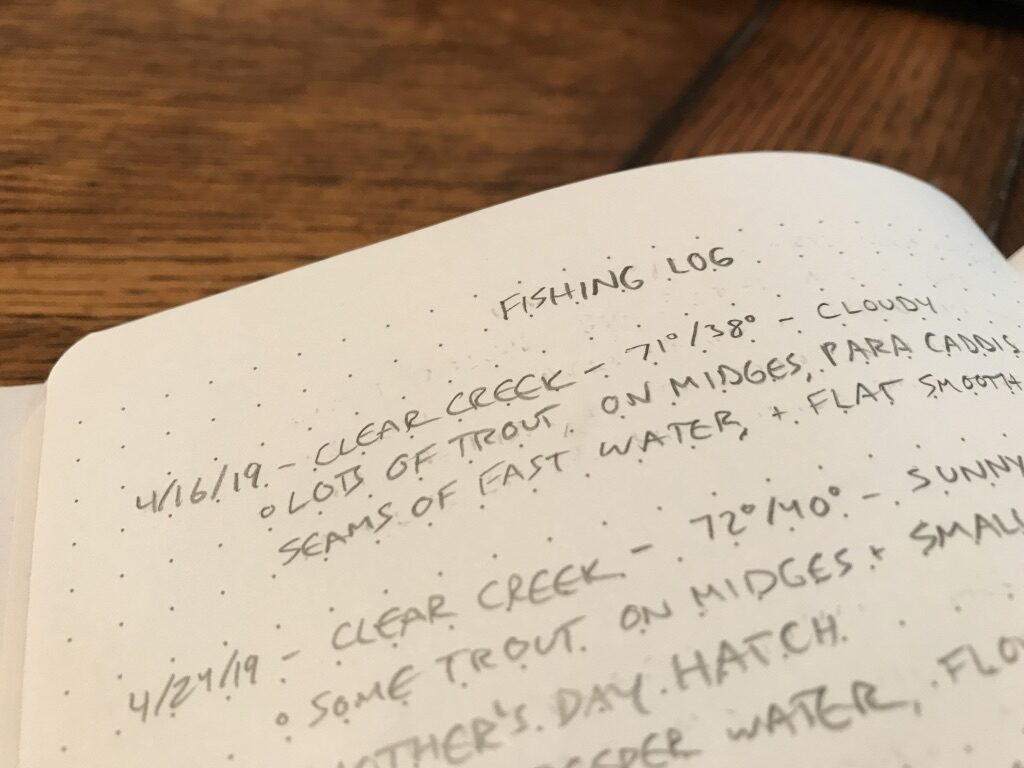 A page in a fishing journal