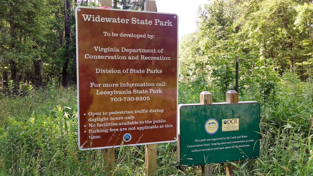A sign at Widewater State Park showing that it was funded by the Land and Water Conservation Fund