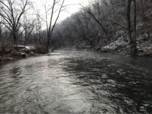 A snowy river in winter