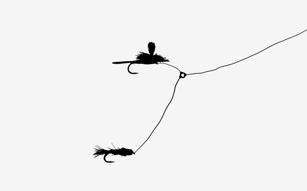 A tippet ring dry-dropper diagram