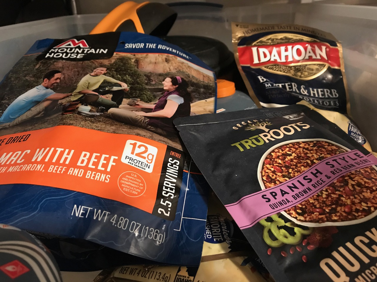A selection of backpacking meals
