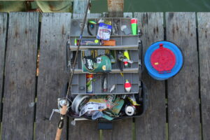 Looking from above, a tackle box on a dock